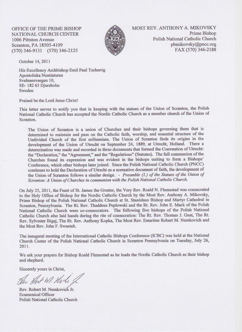 Dokumenter Den Nordisk Katolske Kirke